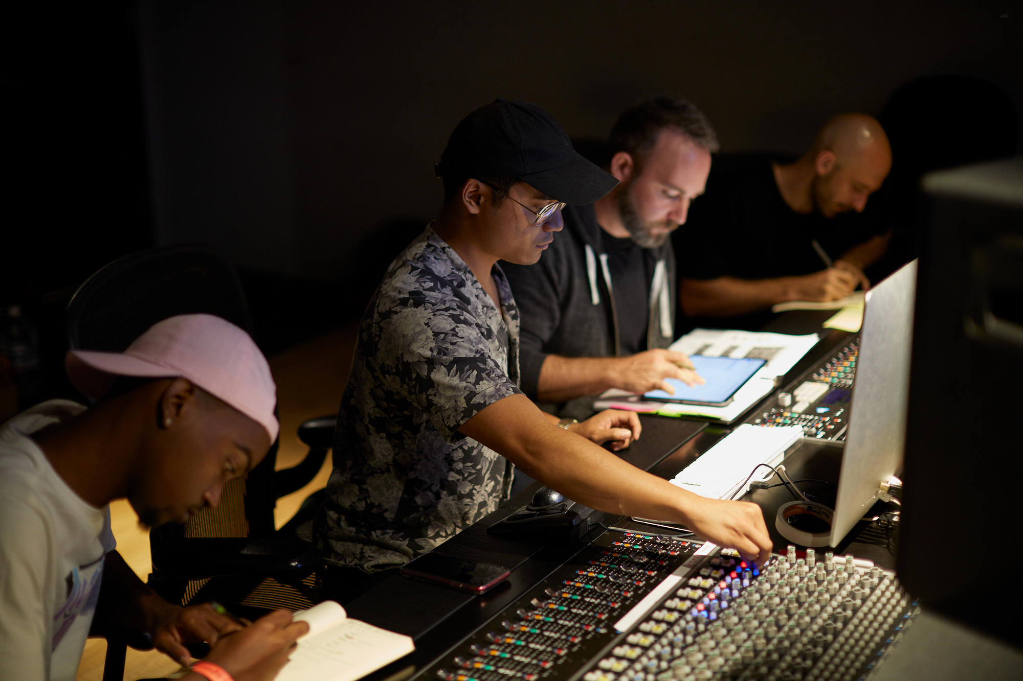 Emmanuel Ramos (center) engineers during the first season production of Heroics, in Los Angeles California (2019). Also pictured (from Right) , Justin McLachlan and Erik Jourgensen.
